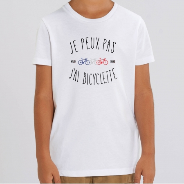 """TSHIRT """"JE PEUX PAS J'AI BICYCLETTE"""" Enfant"""