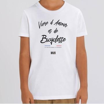 """TSHIRT """"VIVRE D'AMOUR ET DE BICYCLETTE"""" Enfant"""