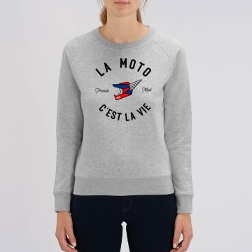 """Sweat Femme Bio """"La Moto c'est la Vie"""" version MX"""