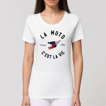 """Tshirt Bio """"La Moto c'est la Vie"""" version MX Femme"""