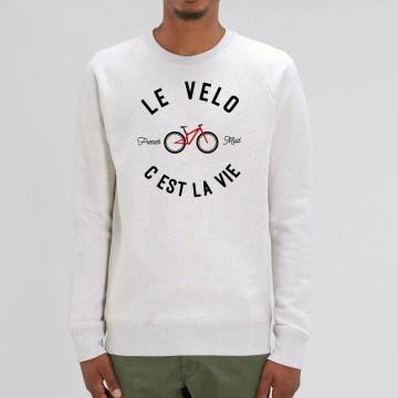 """Sweat Homme Bio """"Le Velo c'est la Vie"""" version VTT"""
