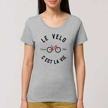 "Tshirt Femme Bio ""Le Velo c'est la Vie"" version VTT"