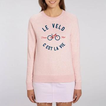 "Sweat Femme Bio ""Le Velo c'est la Vie"" version VTT"