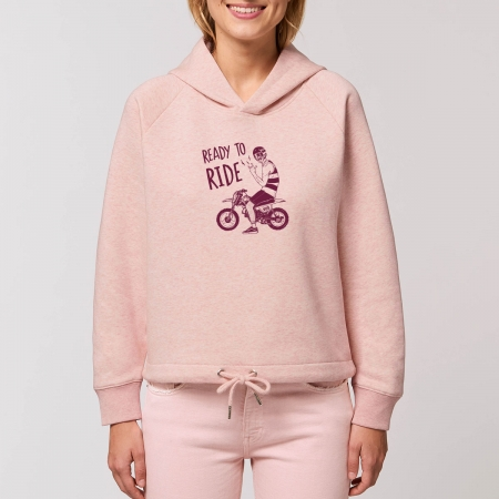 "Sweat Capuche Femme Bio ""Ready to Ride"""