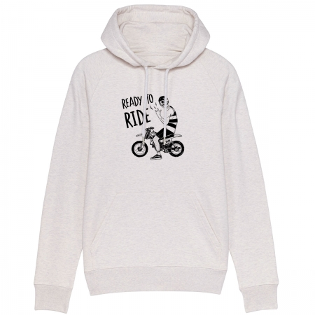 "Sweat Capuche Homme Bio ""Ready to Ride"""