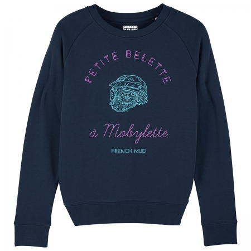 """Sweat Femme Bio """"Petite Belette a mobylette"""""""
