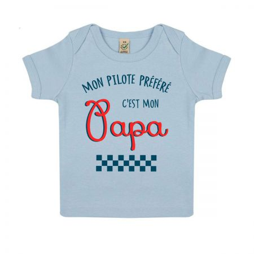 "Tshirt Bebe Bio ""Mon Pilote prefere c'est mon papa"""