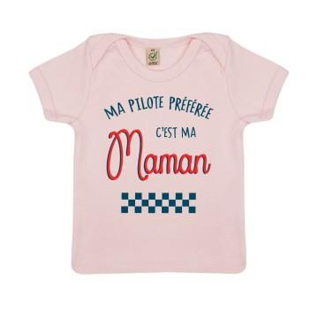 """Tshirt Bebe Bio """"Ma Pilote preferee c'est ma maman"""""""