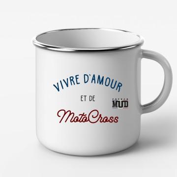 """Mug Metal """"Vivre d'Amour et de Motocross"""""""